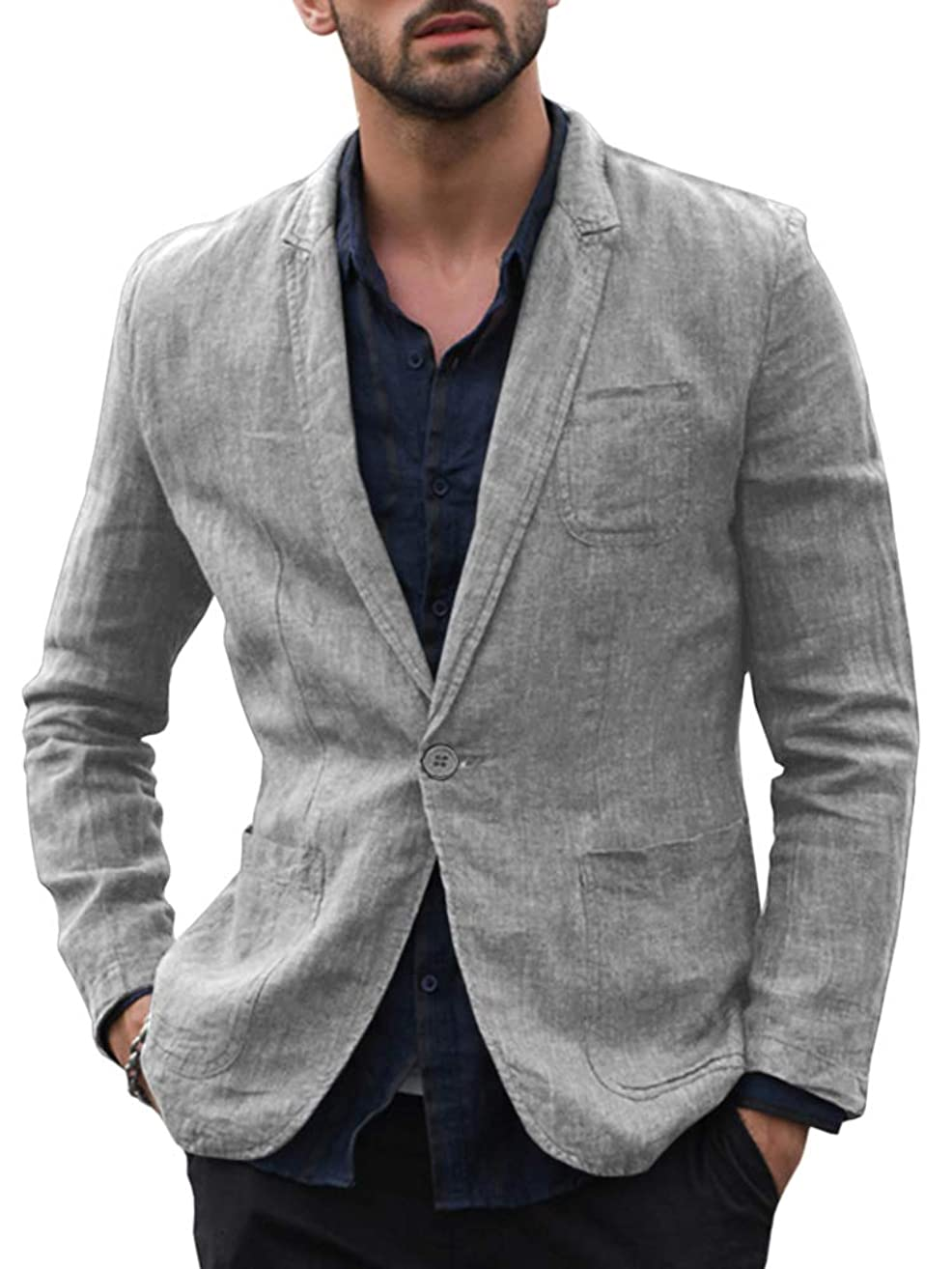 Enjoybuy Mens Casual Linen Tailored Blazer Long Sleeve Two-Button Lightweight Suit Jacket