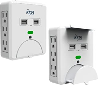 KMC 6-Outlet Wall Mount Surge Protector with 2 USB Charging Ports (2.1 AMP), 2-Pack