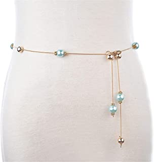 SGJFZD New Fine Beaded Waist Chain Ladies Skirt Decorative Belt Gold Chain Fashionable Rhinestone Inlay Fine (Color : Light Blue, Size : 105cm)