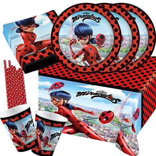 Amscan/Hobbyfun 45-teiliges Party-Set Miraculous Ladybug - Teller Becher Servietten Tischdecke Trinkhalme für 8 Kinder