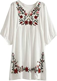 Best white mexican dress embroidered Reviews