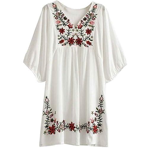 White Embroidered Dress: Amazon.com