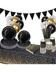 Engångstallrikar partytallrikar, 140 stycken svarta guld engångsporslin med ballonger, pappersmugg, servetter, halm, 25 gäster partydekoration bordsdekoration för bröllopsfest, födelsedag