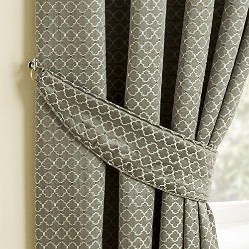 Homescapes Gardinen Raffhalter Marrakesch 2 Stück Silbergrau Orient Design ergänzend zu Ösenvorhang Set