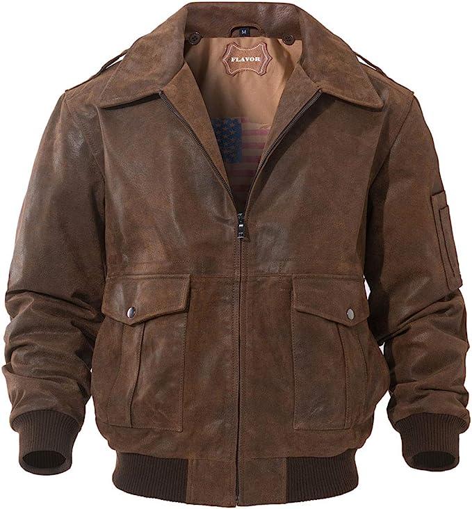 Men's Vintage Jackets & Coats FLAVOR Mens Leather Flight Bomber Jacket Air Force Aviator  AT vintagedancer.com