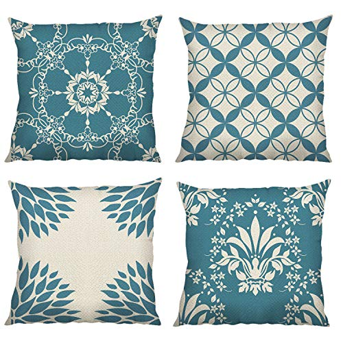Bonhause Blue Modern Geometric Cushion Covers 18 x 18 Inch Set of 4 Decorative Throw Pillow Covers Cotton Linen Square Pillowcases for Sofa Couch Car Bedroom Home Décor, 45cm x 45cm