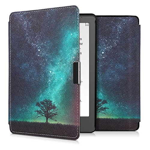 kwmobile Case for Kobo Aura Edition 2 - Book Style PU Leather Protective e-Reader Cover Folio Case - Blue Grey Black