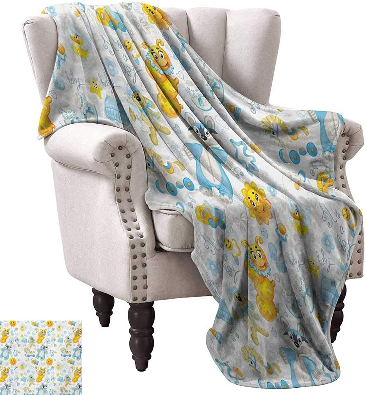 Anyangeight Throw Blanket,Its a Boy Image with Happy Sun Raccoon in Pyjamas bluee Hats and Pacifier 60 x50 ,Super Soft and Comfortable,Suitable for Sofas,Chairs,beds