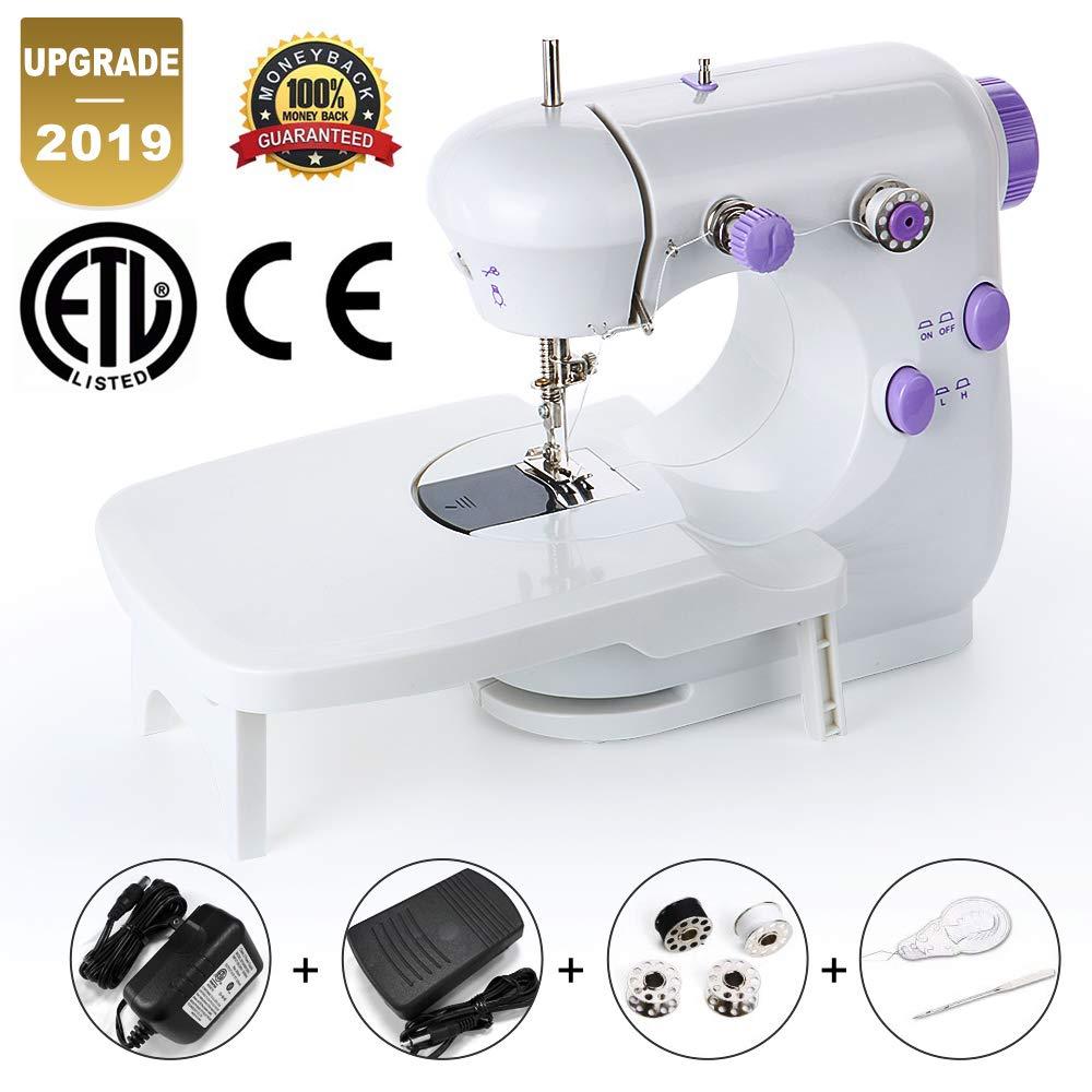 Mini máquina de coser portátil doble velocidad control doble aguja ...