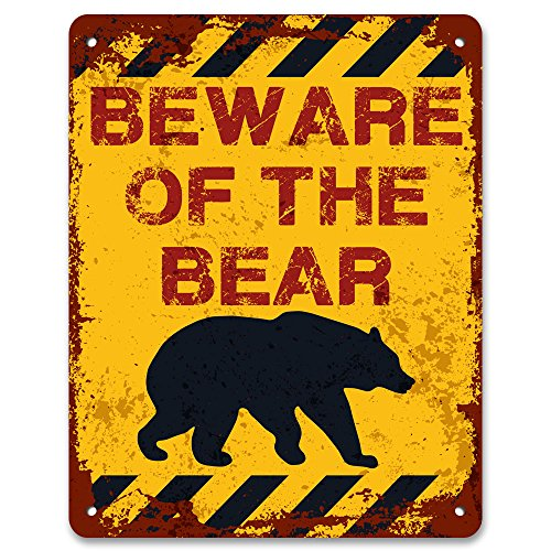 Print Crafted - Beware Of The Bear | Vintage Metal Garden Warning Sign
