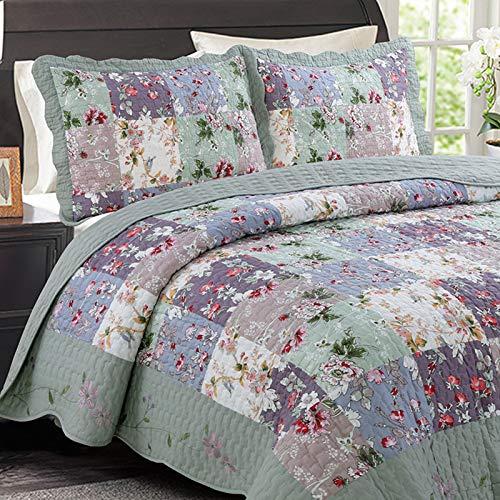 Juego de ropa de cama Colcha de 3 piezas Acolchada 100% Algodón Doble mantas Cubierta de cama Retro Chic Verde Patchwork Edredón bordado Colchones de colchón 240X260CM Fundas de almohada 50X70CMX2