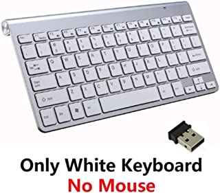 SMFR Thin 2.4G Optical Wireless Bluetooth Keyboard and Mouse for mac pc Laptop Full Size Slim Wireless Keyboard Mouse with Numeric Keypad (White keybooard only)