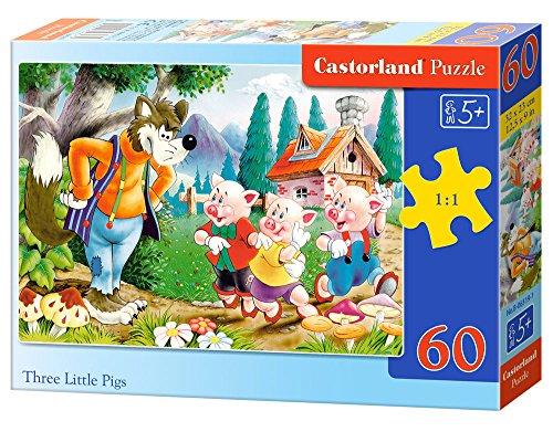 Castorland Three Little Pigs 60 pcs 60pieza(s) - Rompecabezas (Jigsaw Puzzle, Dibujos, Niños, Niño/niña, 5 año(s), Interior)