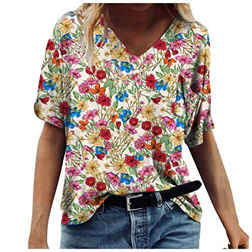 Camiseta de mujer vintage Drcuken de verano, blusa de manga corta, cuello en V, extragrande, espaguetis, camiseta retro con estampado de flores, camiseta suelta, casual, estampado de blusa F-rojo. XL