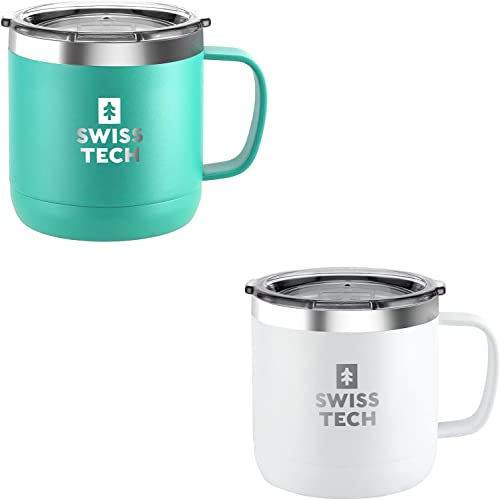 new arrival SWISS+TECH 14 2021 oz Coffee Mug, Vacuum Insulated Mug Cup with Lid, Double Wall Stainless Steel Travel Tumbler Cup, Corrosion Resistant, new arrival BPA Free (Green&White) online
