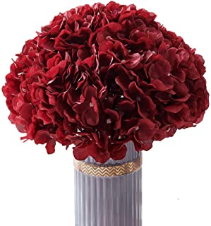 Atinart Burgundy Hydrangea Silk Flowers Full Artificial Hydrangea Heads Pack of 10 for Home Wedding Party Shop Baby Shower...