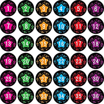 48 Pieces Number Spot Markers and Labels Classroom Line-up Spots Helpers Colorful Carpet Markers with Number