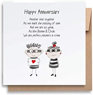Partners - Anniversary Card with Envelope, Funny Anniversary Card Humorous Anniversary Card Anniversary Card For Him Anniv...