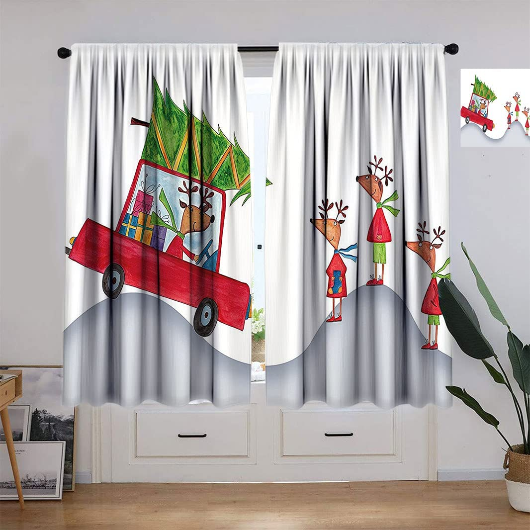 Christmas Max 62% OFF Award Thermal Insulation Curtain for Room Fa Reindeer Living