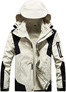 $37 Get FraftO Couple Hooded Jacket Outdoor Waterproof Jackets Coat Two Piece Detachable Liner Sport Outwear for Womens and Mens