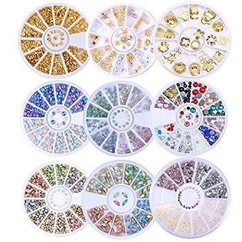 BONNIESTORE 8 Boxes Glitter Nail Rhinestones Decoration