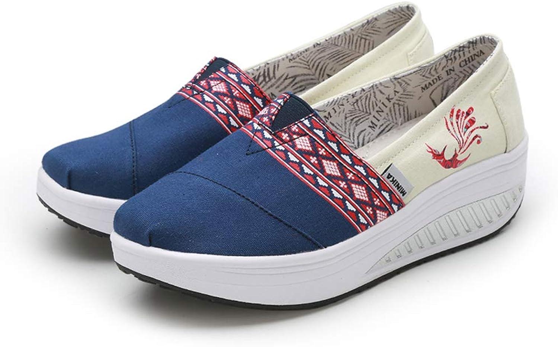 Btrada Women Trainers Wedges Platform Soft Sneakers Casual Ladies Canvas Swing Walking Pumps shoes