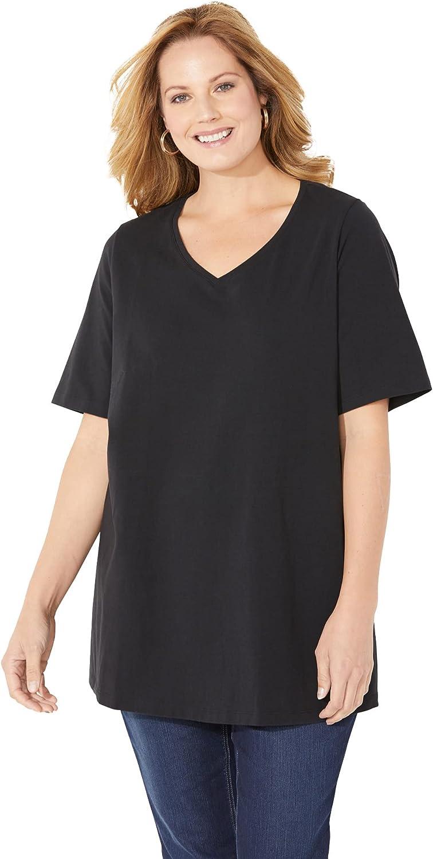 Catherines Women's Plus Size Suprema Ultra-Soft V-Neck Tee