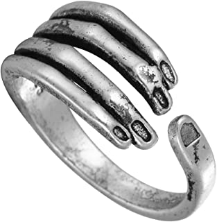 Chengxun Unisex Stainless Steel Rings Vintage Black Gothic Men Adjustable Silver Rings