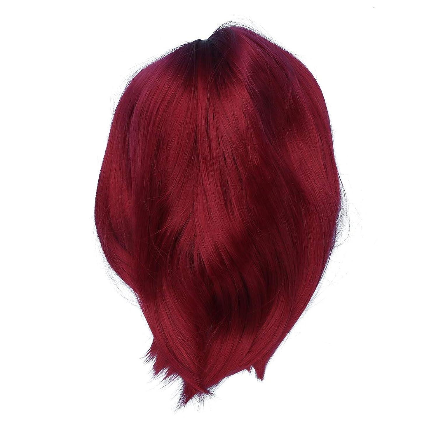 硬さ常識広がりLurroseショートウェーブウィッグナチュラルカーリーウェーブ耐熱合成毛ウィッグ中部コスプレパーティー