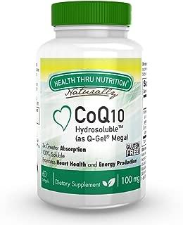 CoQ10 100mg Hydrosoluble (as Q-Gel Mega) 300% Greater Absorption 60 Softgels by Health Thru Nutrition