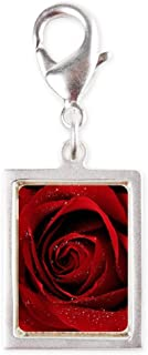 Silver Portrait Charm Red Rose