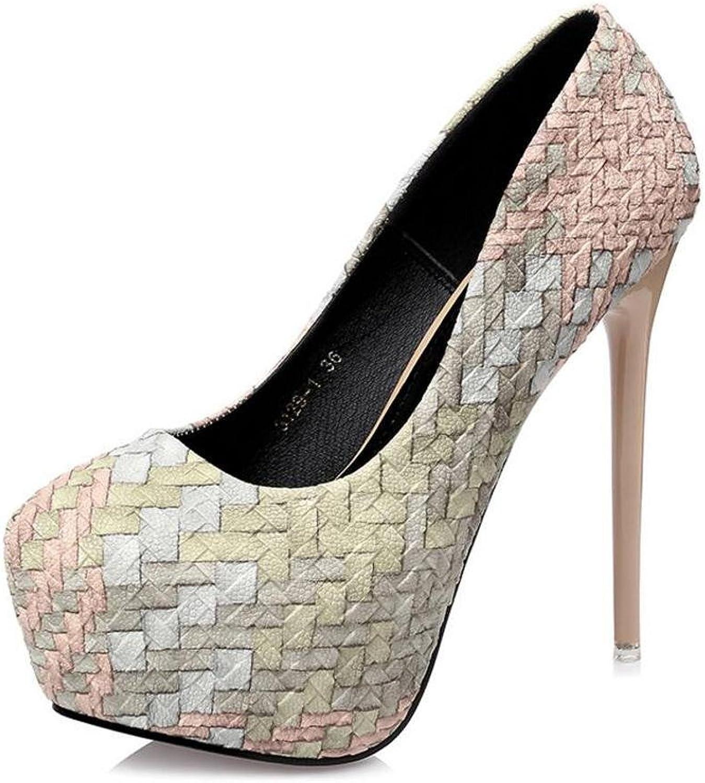 Damen High Heels Wasserdichte Tisch Mit 14cm Farbe Ball Singles Einzigen Schuhe