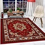 Antep Rugs Alfombras Oriental Traditional 3x5 Non-Skid (Non-Slip) Low Profile Pile Rubber Backing Indoor Area Rugs (Maroon, 3' x 5')