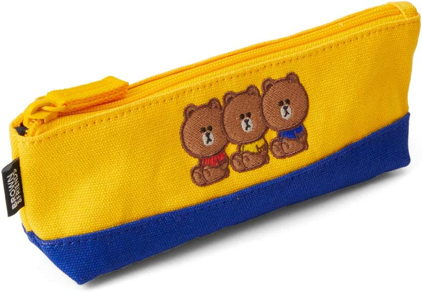 Yellow Line Friends University Collection Brown Character Slim Cute Pencil Case Small Pouch Bag with Zipper