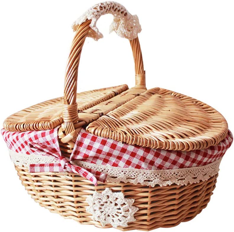 Wicker Picnic Baskets with Regular dealer Handle Picni Lid Woven Willow Industry No. 1 Oval