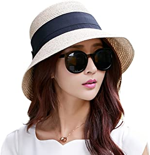 Woman Summer Straw Sun Hat Wide Brim Panama Foldable Beach Fedora Floppy for Lady Beige