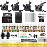 Solong Tattoo® Kit Completo De Tatuajes 4 Ametralladoras Profesionales 54 Tintas Fuente De Alimentación Enchufe Pedal Agujas Puños Consejos TK457