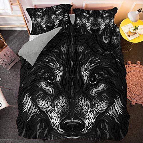 JGYJ Animal Duvet Cover Sets, Fashion Wolf 3d Bedding Sets, Soft Cotton Reversible With Zipper, Kids Boys Teens Quilt Cover 200x200cm black-1