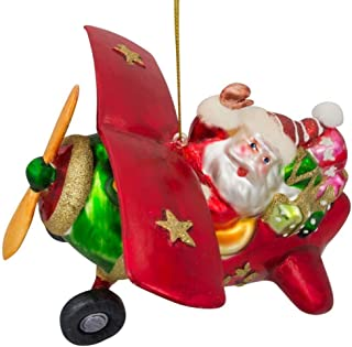 BestPysanky Pilot Santa Flying an Airplane Blown Glass Christmas Ornament 4.7 Inches
