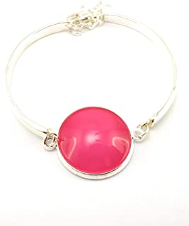 Stechschmuck Armband Armreif Handmade Pink Einfarbig Unifarben Silber Farben Damen Kinder Kitsch Kawaii 22mm