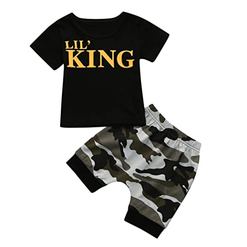 6024751c2585 Pollyhb Children Baby Boys Letter T Shirt Tops+Camouflage Outfits Clothes  Set