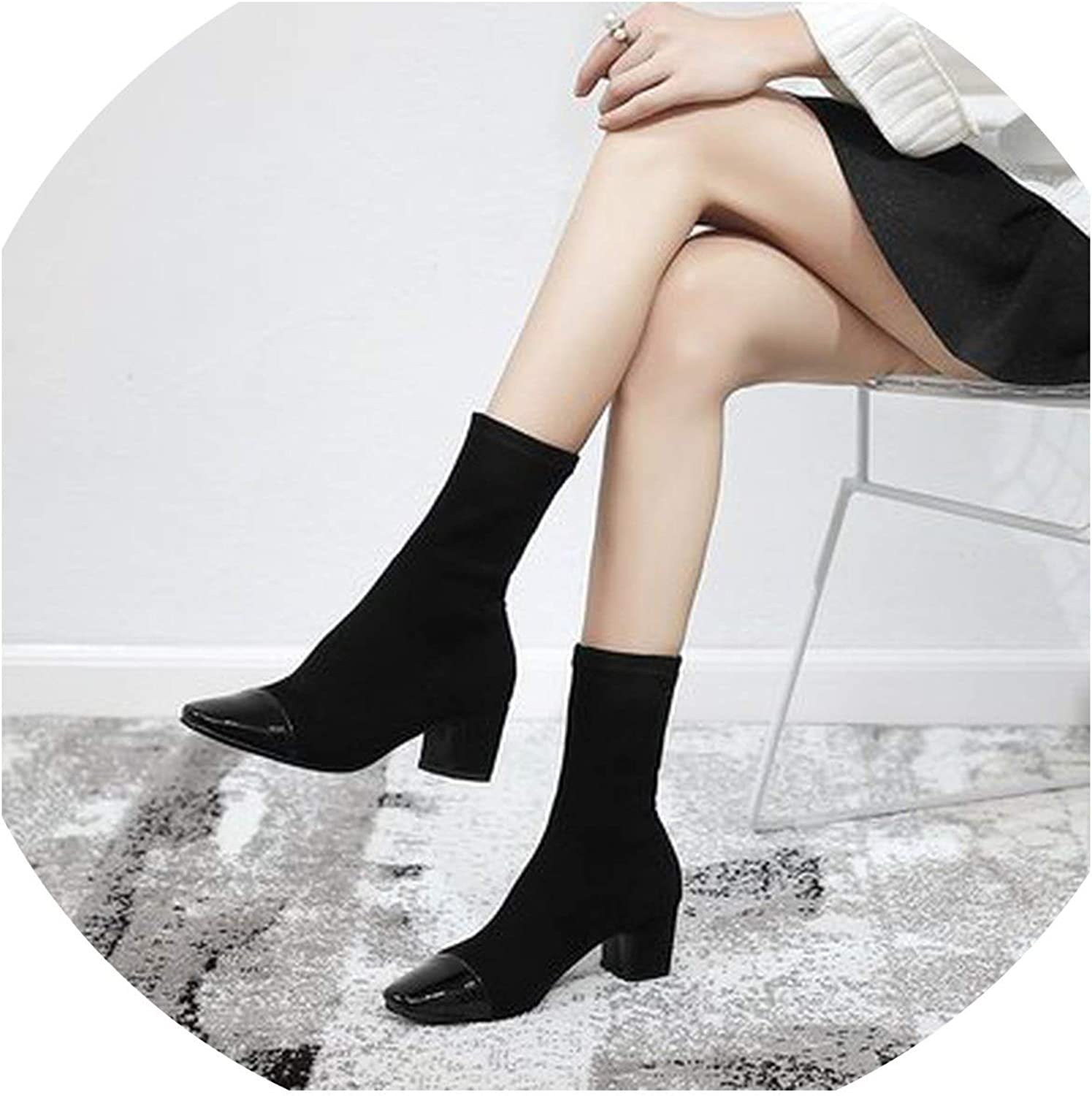 Women shoes Winter Elastic Boots Stovepipe Socks Tube Pointed Toe Women Boots