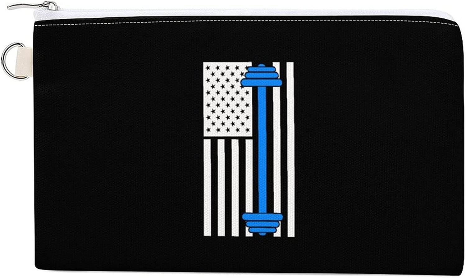 American Flag Lifting Women's Canvas Coin Purse Change Pouch Zip Wallet Bag