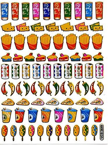 Pizza Pommes Kuchen Eis Becher Aufkleber 83-teilig 1 Blatt 135 mm x 100 mm Sticker Basteln Kinder Party Metallic-Look