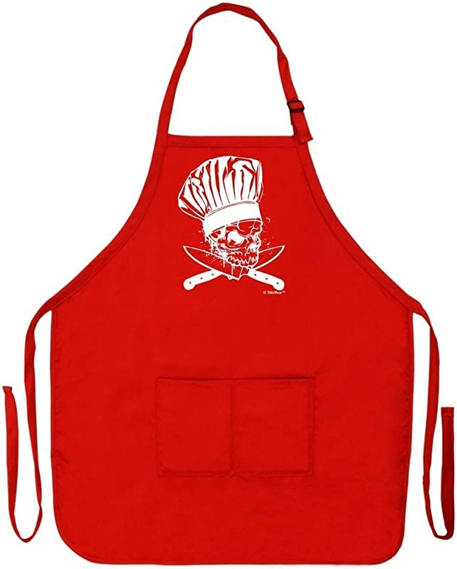 ThisWear Chef Skull Bones Crossed Knives Funny Apron Kitchen BBQ Barbecue Cooking Baking Grilling Bacon Two Pocket Apron Chef Culinary Arts Student Apron Red