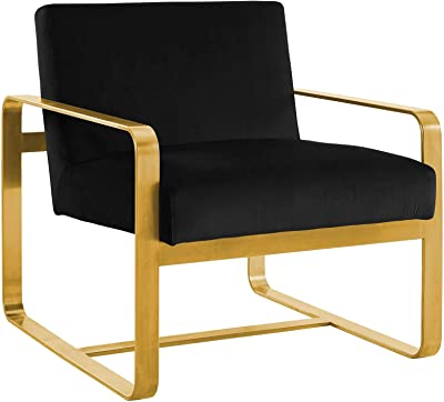 Modway Astute Glam Deco Performance Velvet Upholstered Accent Lounge Arm Chair Gold Stainless Steel Frame in Black