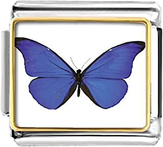LuckyJewelry Butterfly Etched Italian Charms Sale Cheap fit Nomination Link Bracelet