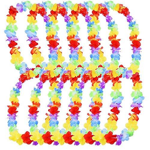 ZARRS Fleurs Hawaïenne,10 Pièces Couronne hawaïenne Colliers Bracelet Fleur de Soie Guirlandes pour Guirlande Party Décorations Fournitures Faveurs Multicolore 100CM