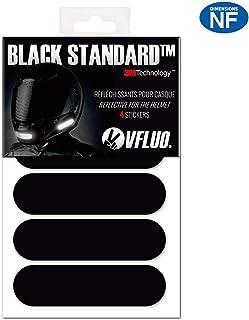 VFLUO Black Standard™, Kit 4 Bandes Stickers rétro réfléchissants pour Casque..