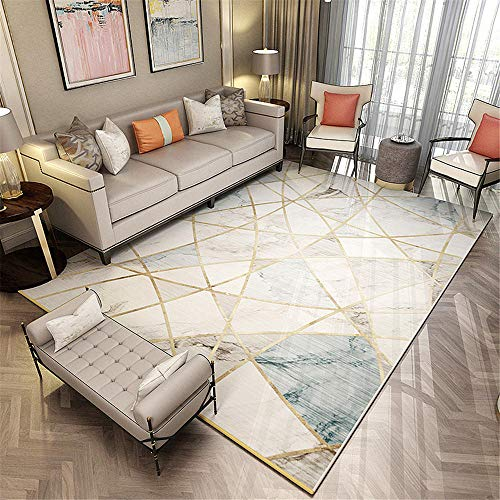 """alfombras habitacion Juvenil Alfombra de salón con Fondo Gris Rectangular con líneas Doradas Suaves y resbaladizas alfonbras de Salon Grandes Oficina de alfombras 160X230CM 5ft 3"""" X7ft 6.6"""""""